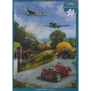 Otter House Nostalgic Transport Planes Train and Car Scene by Kevin Walsh 55847 1000 pieces jigsaw box
