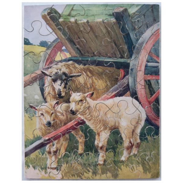 Ponda A Fine Shelter Sheep Vintage Wooden Jigsaw Complete