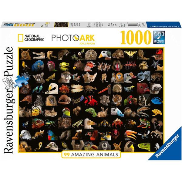 Ravensburger 99 Amazing Animals National Geographic PhotoArk photographs by Joel Sartore 159833 1000 pieces jigsaw box