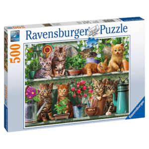 Ravensburger Cats on the Shelf 148240 Jigsaw Box Kittens in Potting Shed with flowers