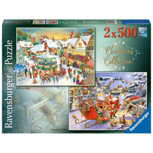 Ravensburger Christmas Collection No 1 The Christmas Market and Santas Christmas Supper by Roy Trower 150311 2x500 pieces jigsaw box