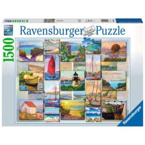 Ravensburger Coastal Collage 168200 Seaside Montage by Catherine Elliott 1500 pieces jigsaw box