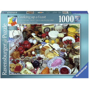 Ravensburger Cooking Up A Feast Perplexing Puzzles No 7 195831 Jigsaw Box Food and Drink Kitchen Scene by Greg Shepherd