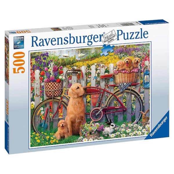 Ravensburger Cute Dogs In The Garden 150366 Jigsaw Box Golden Retriever With Puppies and Bicycle