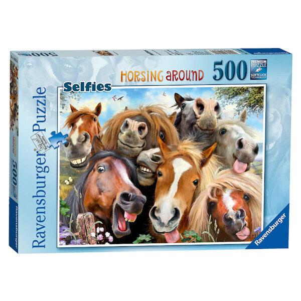 Ravensburger Horsing Around Selfies 146956 Jigsaw Puzzle Box Horses Comedy Image by Howard Robinson