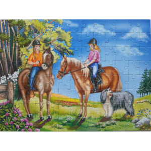 Ravensburger Outing On Horseback Two Girls Riding Horses Jigsaw Complete