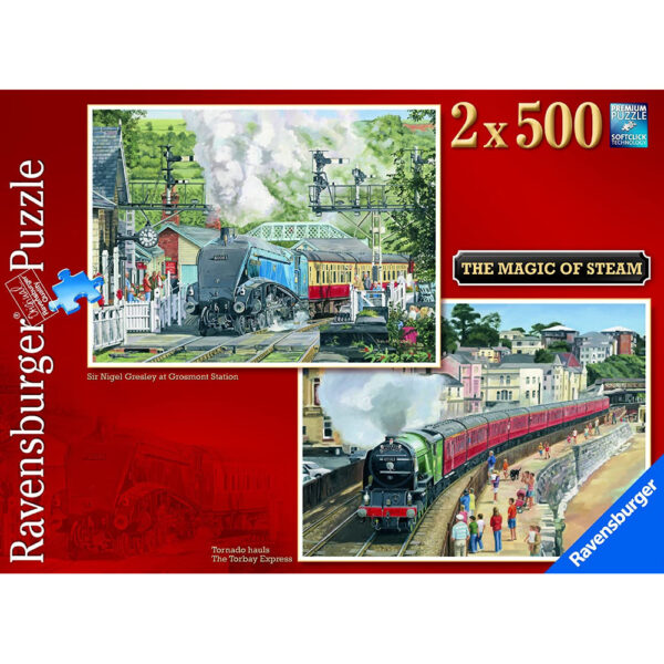 Ravensburger The Magic of Steam Sir Nigel Gresley at Grosmont Station and Tornado Hauls Torbay Express by Trevor Mitchell Jigsaw Box