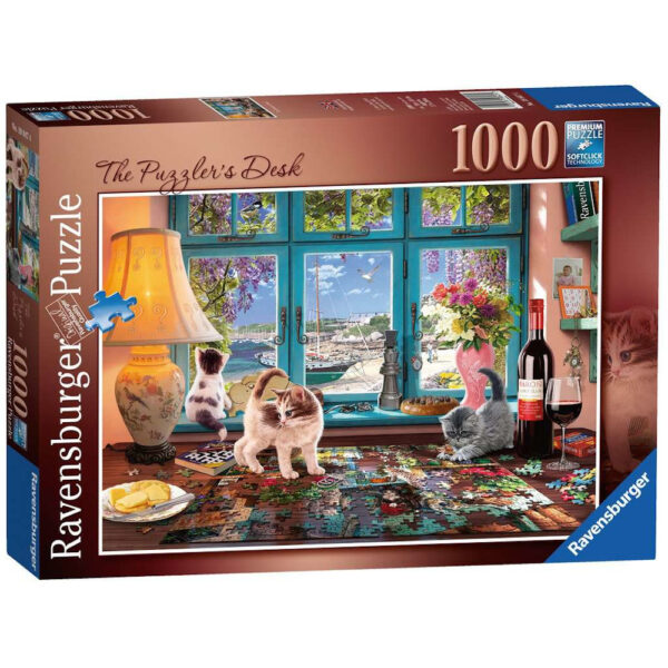 Ravensburger The Puzzlers Desk by Steve Read 198474 1000 pieces jigsaw box jigsaw by window with cats