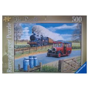 Ravensburger The Rivals 145478 Jigsaw Box Steam Engine and Post Bus Nostalgic Scene by Trevor Mitchell