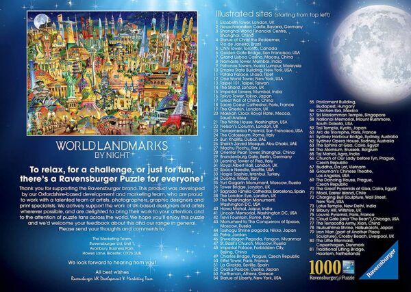 World Landmarks by Night Famous Buildings Montage by Adrian Chesterman 198436 1000 pieces jigsaw LEAFLET KEY
