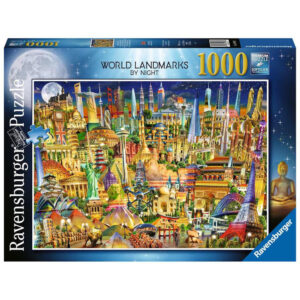 Ravensburger World Landmarks by Night Famous Buildings Montage Adrian Chesterman 198436 1000 pieces jigsaw box