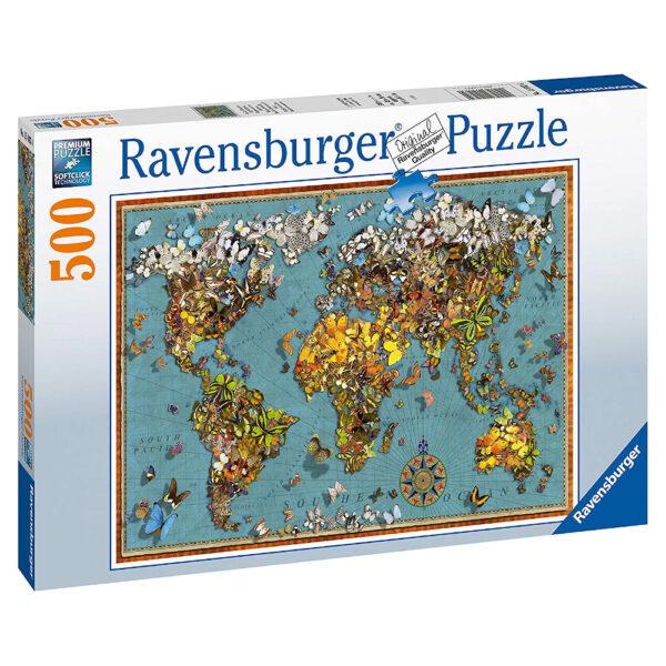 Ravensburger World of Butterflies Map Image by Garry Walton 150434 500 pieces jigsaw box