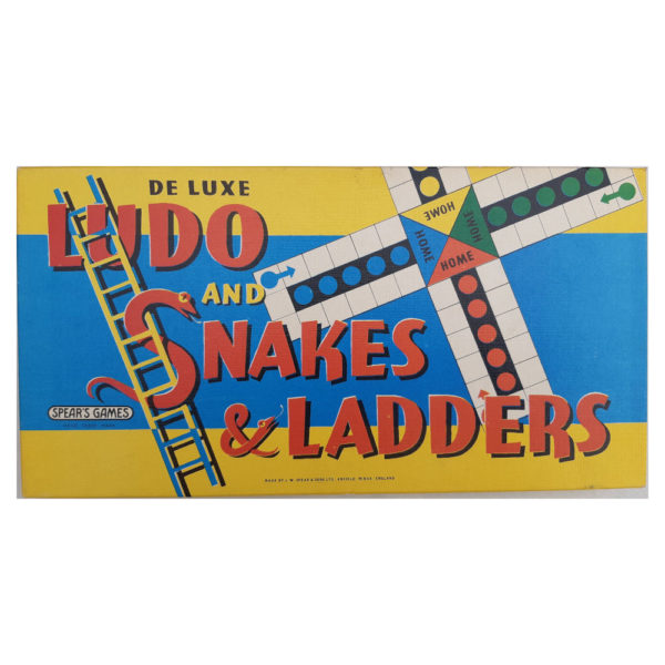 Spears Games Ludo and Snakes and Ladders 1960s Vintage Game Box