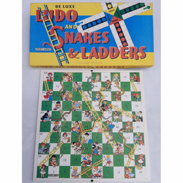 Spears Games Ludo and Snakes and Ladders 1960s Vintage Game Contents Board