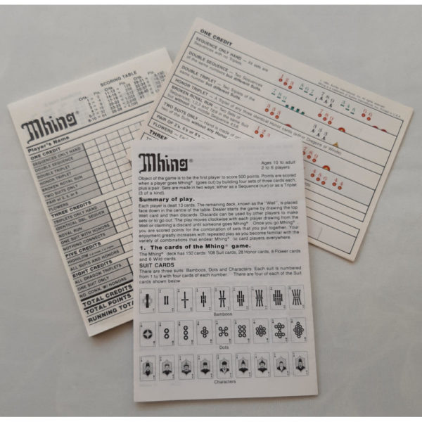 Spears Games Mhing Card Game 1984 Instructions