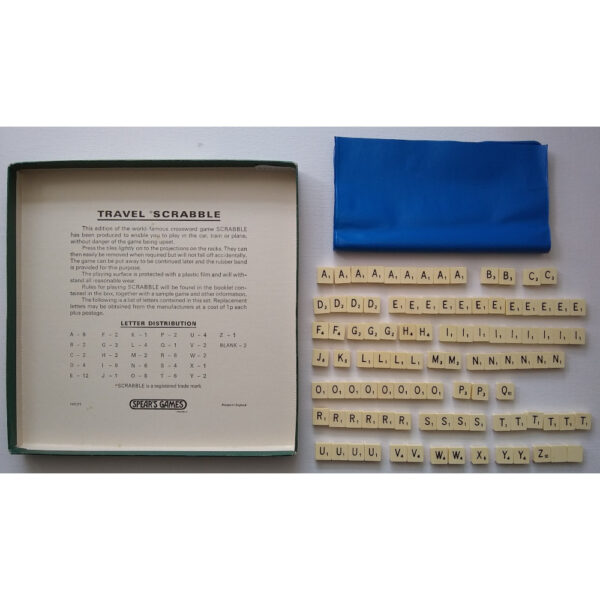Spears Games Travel Scrabble 1950s Game Instructions Tiles