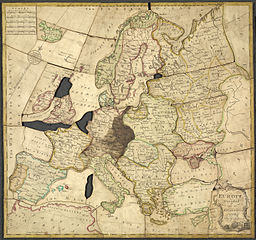 """John Spilsbury jigsaw """"Europe divided into its kingdoms, etc."""" London, 1766, British Library (Creative Commons collection)"""