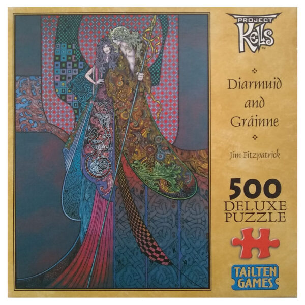 Tailten Games Diarmuid and Grainne Project Kells Celtic Image by Jim Fitzpatrick 500 pieces Jigsaw Box