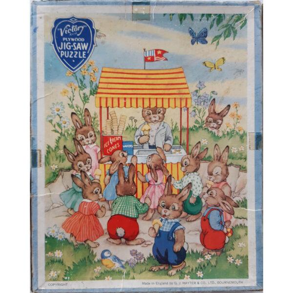 Victory Bunnies Ice CreamSeller Wooden LP3 Jigsaw Box