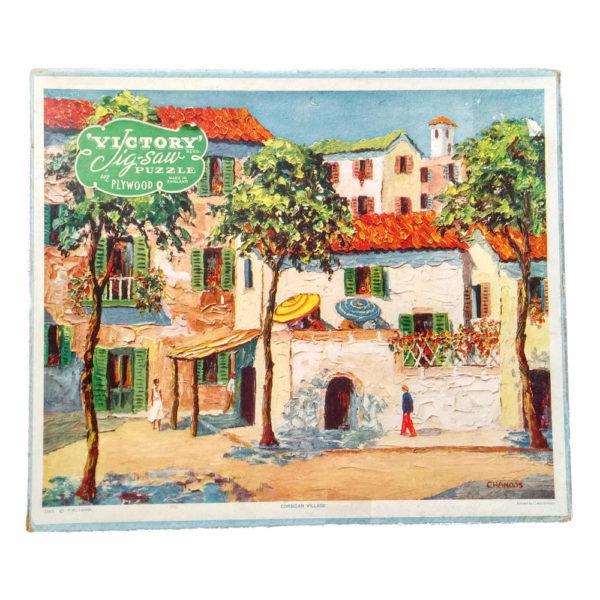 Victory Corsican Village Popular Series P8 Vintage Wooden Jigsaw Box
