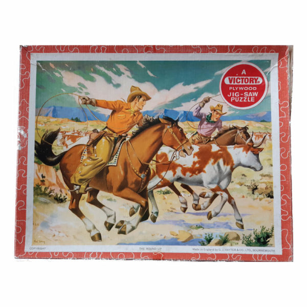 Emporium Victory The Round Up Wooden Jigsaw Box Cowboys Horses