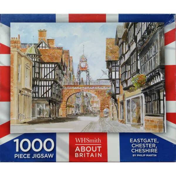 WHSmith Eastgate Chester Cheshire About Britain Jigsaw Box Watercolour featuring Chester Clock by Philip Martin