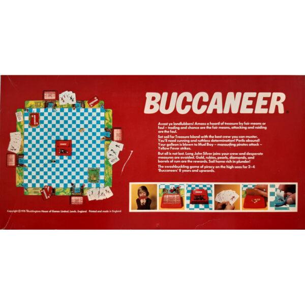 Waddingtons Buccaneer Game 1976 Box Back Swashbuckling Game of Piracy and Treasure