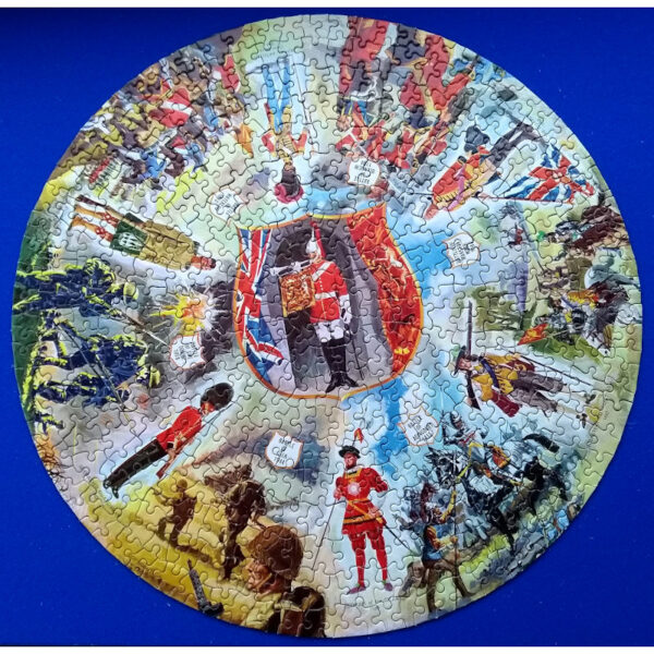 Waddingtons Circular Puzzle Battles Stock No 515 Vari Piece Jigsaw Complete Featuring Soldiers, Guards and Famous English Battles