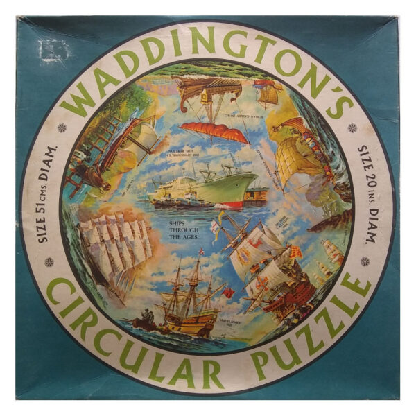 Waddingtons Circular Puzzle Ships Though the Ages Stock No 550 Vari Piece Jigsaw Box including Mayflower and Cutty Sark