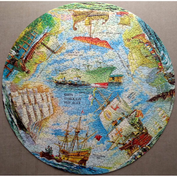 Waddingtons Circular Puzzle Ships Though the Ages Stock No 550 Vari Piece Jigsaw Complete Featuring Cutty Sark, Mayflower and others