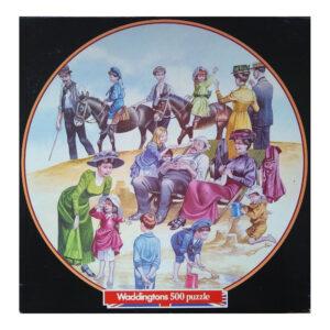 Waddingtons Edwardian England The Outing 13903 Circular Jigsaw Box Beach Scene