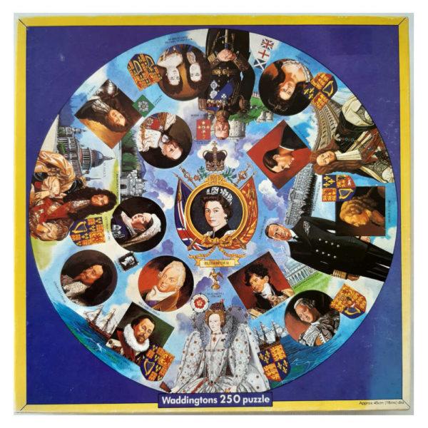 Waddingtons Kings Queens of England Circular Jigsaw Box Elizabeth I to Elizabeth II