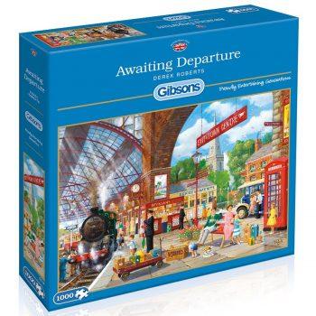 Gibsons Awaiting Departure G6136 Train Station Derek Roberts 1000 pieces Jigsaw Box