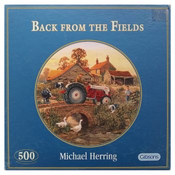 Gibsons Back From The Fields G3013 Circular Jigsaw Farmyard Scene by Michael Herring 500 pieces Box