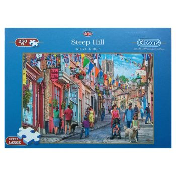 Gibsons Steep Hill Lincoln Street Scene by Steve Crisp G2701 250XL pieces jigsaw puzzle box