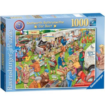 Ravensburger Knotworth Bothrynwithe Car Boot Sale Cartoon Scene Best of British No 7 Jigsaw Box